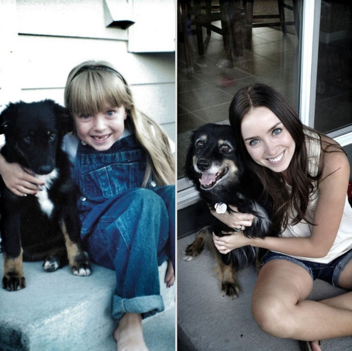 24 Before and After Photos of Pets and Their Humans - 14 year difference.