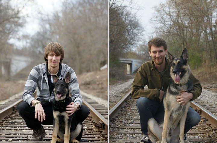 24 Before and After Photos of Pets and Their Humans - 4 year difference.