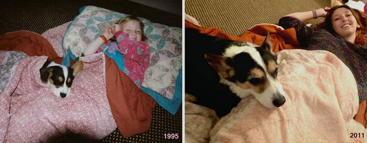 24 Before and After Photos of Pets and Their Humans - 16 year difference.