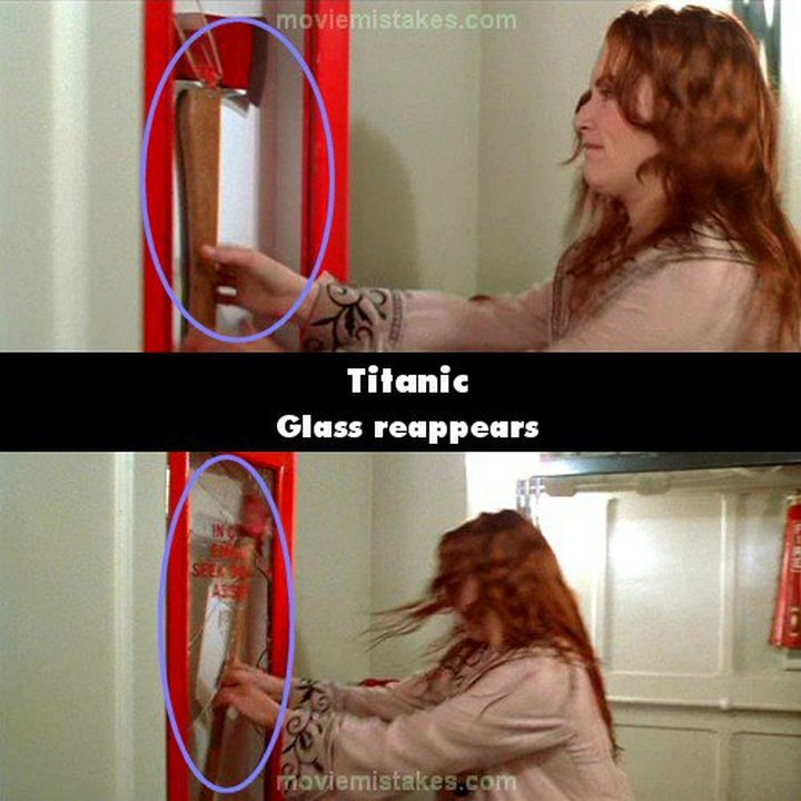 20 Titanic Movie Mistakes - Glass reappears.
