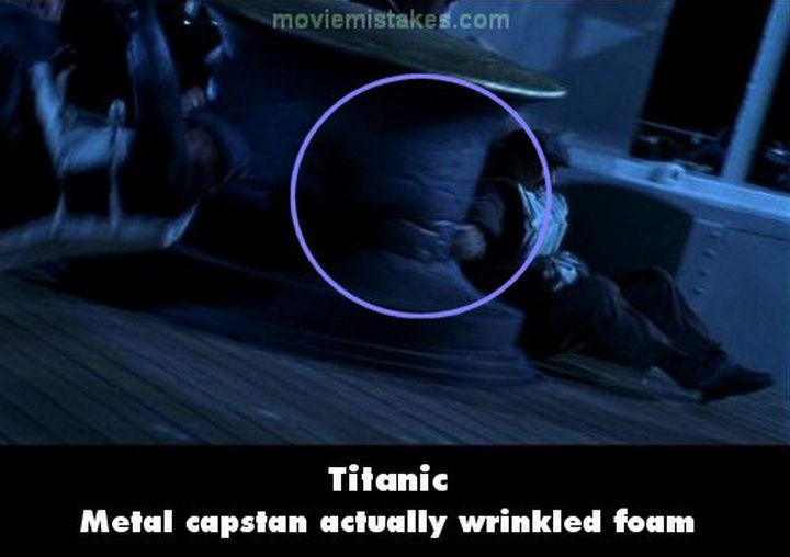 20 Titanic Movie Mistakes - Metal capstan actually wrinkled foam.