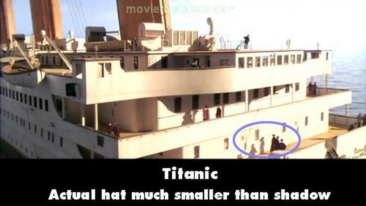 20 Titanic Movie Mistakes - Actual hat much smaller than shadow.
