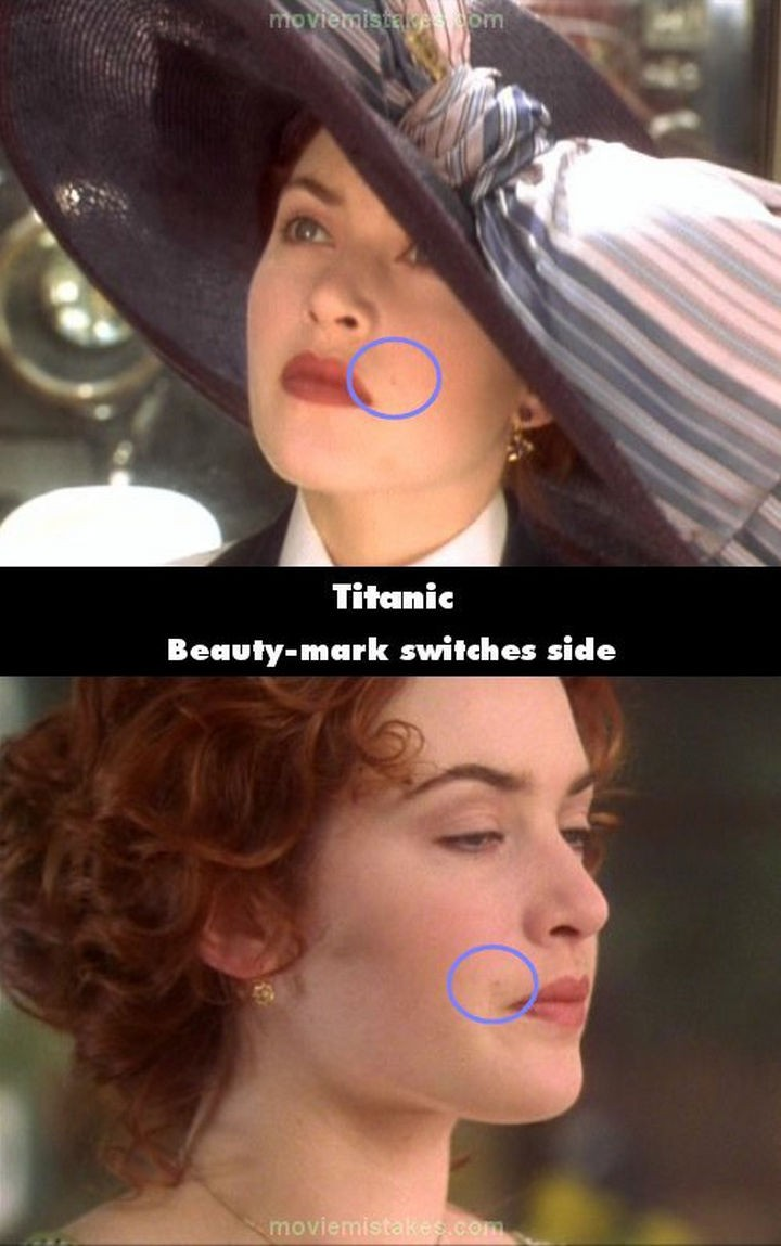 20 Titanic Movie Mistakes - Beauty mark switches side.