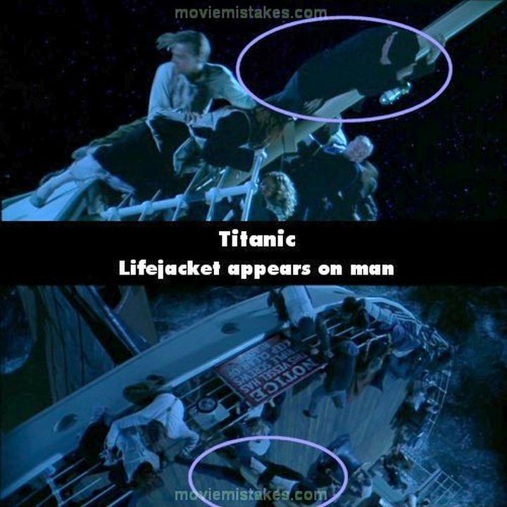 20 Titanic Movie Mistakes - Lifejacket appears on man.