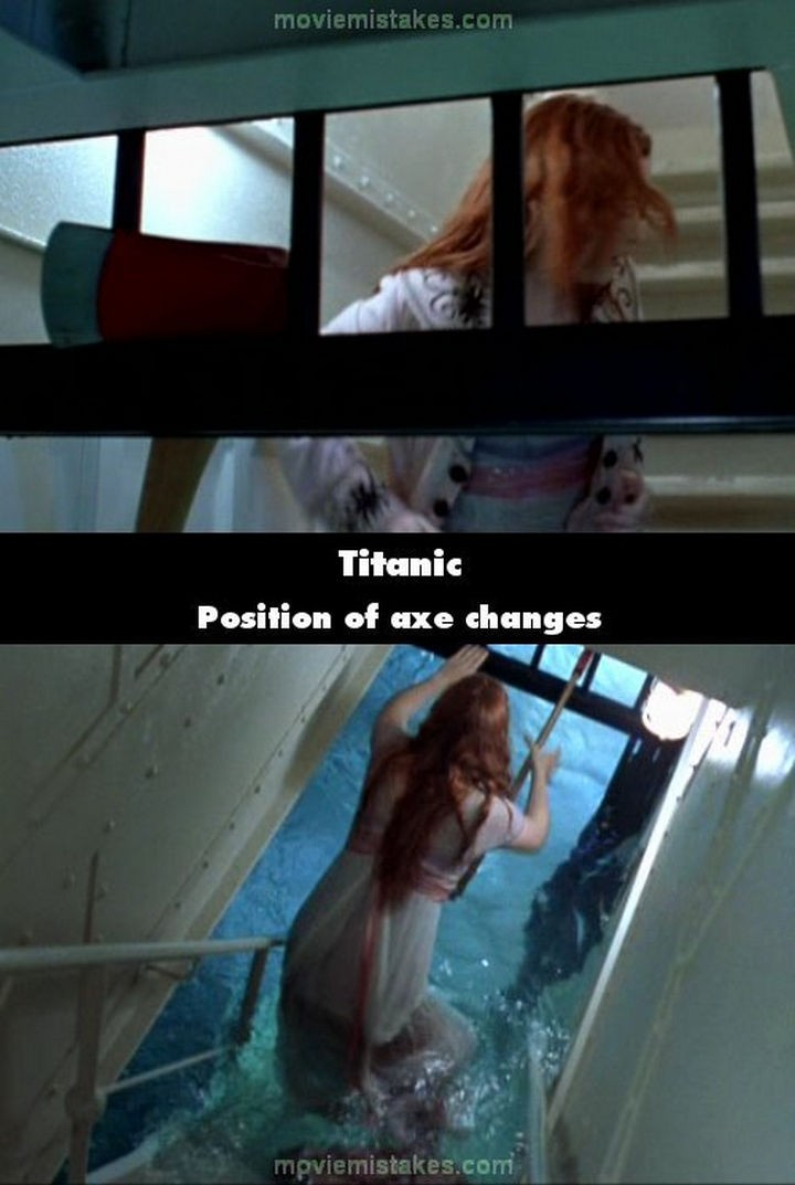 20 Titanic Movie Mistakes - Position of axe changes.
