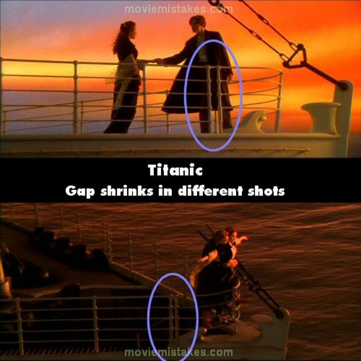 20 Titanic Movie Mistakes - Gap shrinks in different shots.