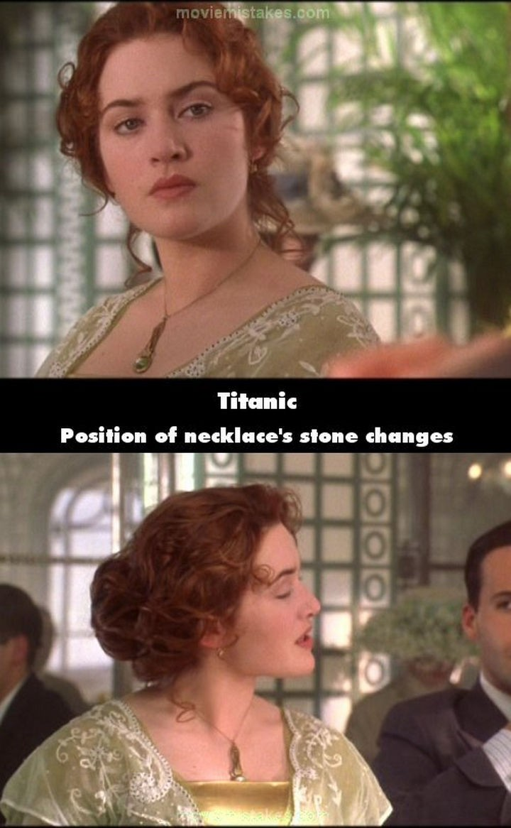 20 Titanic Movie Mistakes - Position of necklace's stone changes.
