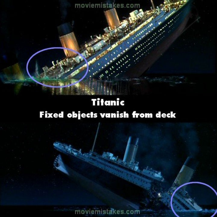 20 Titanic Movie Mistakes - Fixed objects vanish from deck.