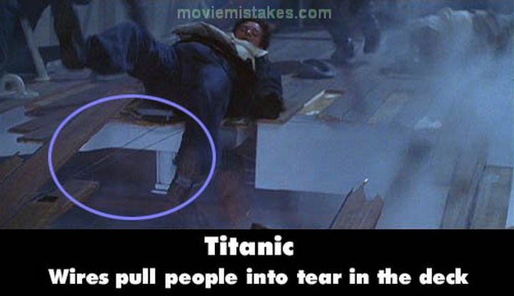 20 Titanic Movie Mistakes - Wires pull people into tear in the deck.
