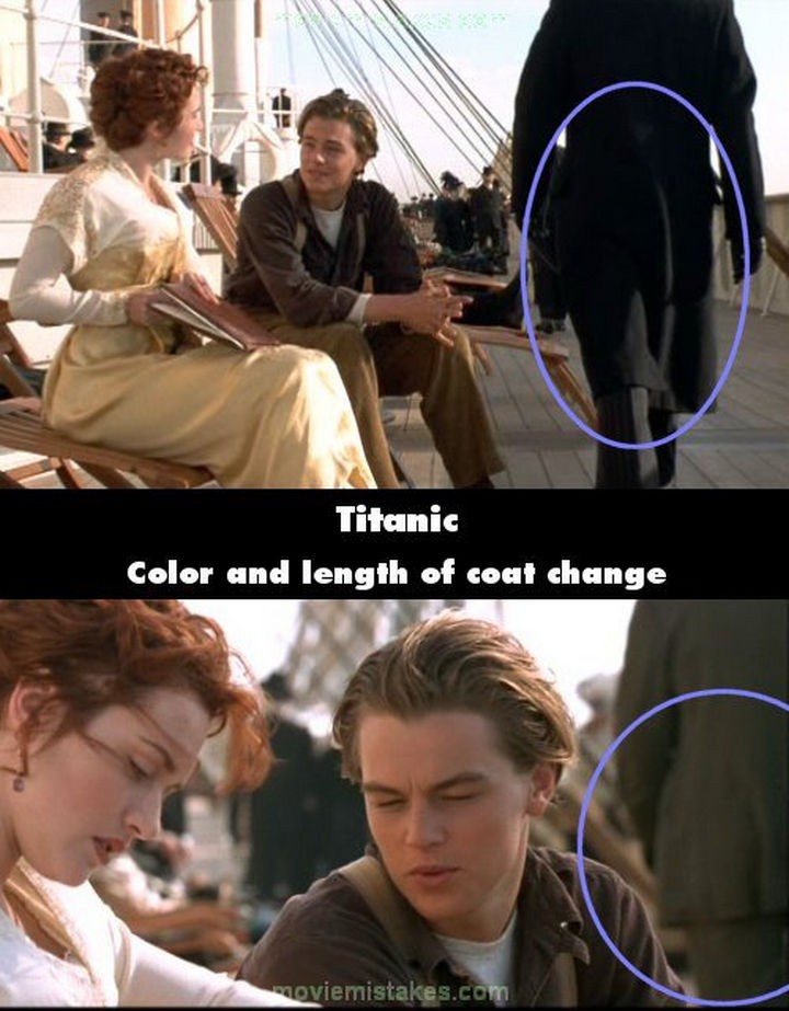 20 Titanic Movie Mistakes - Color and length of coat change.