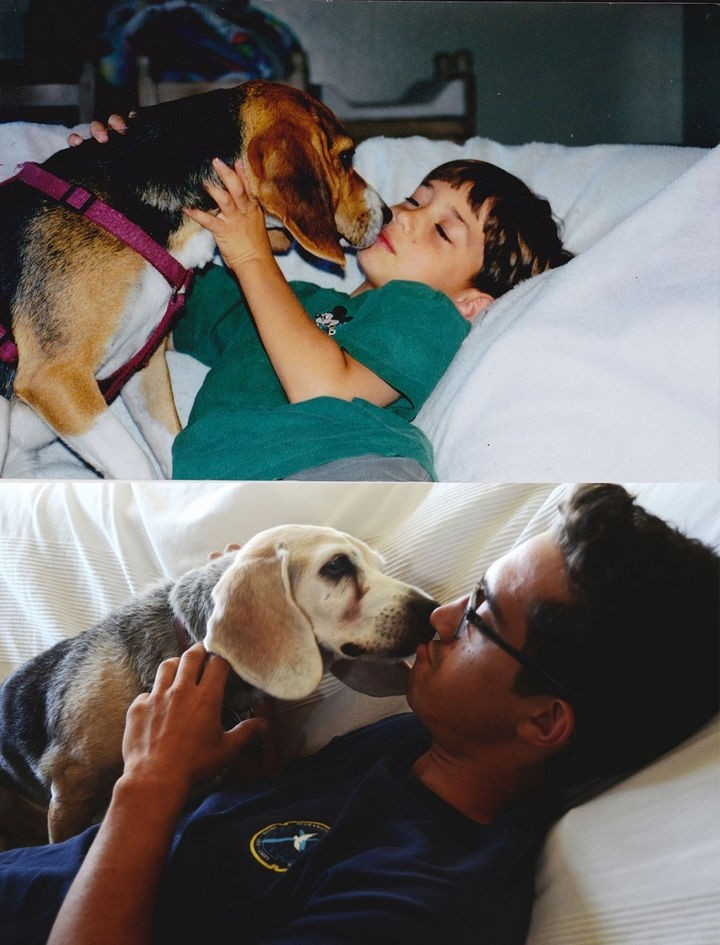 24 Before and After Photos of Pets and Their Humans - 16-year difference.