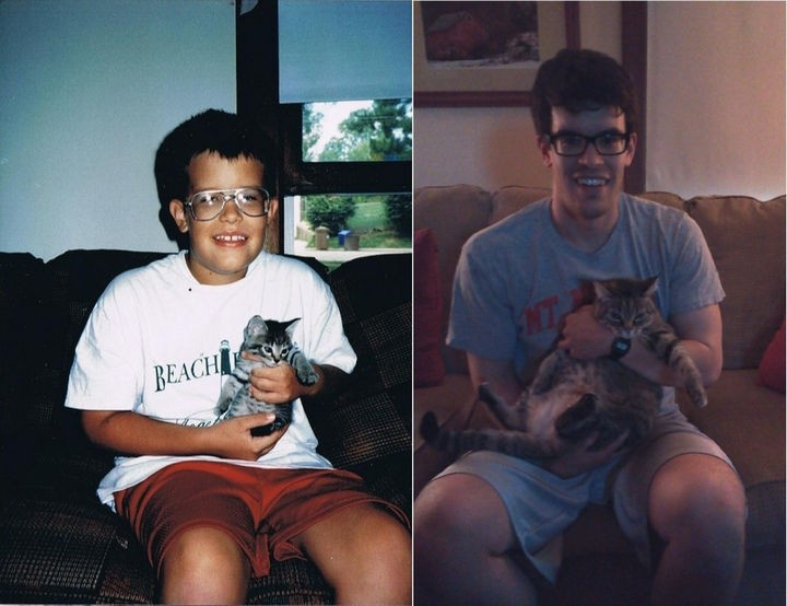 24 Before and After Photos of Pets and Their Humans - 15-year difference.