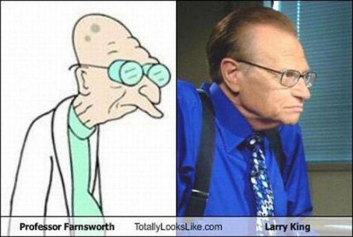 25 People That Look Like Cartoon Characters In Real Life - Professor Farnsworth of Futurama.