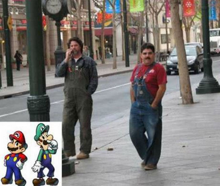 25 People That Look Like Cartoon Characters In Real Life - Super Mario and Luigi.