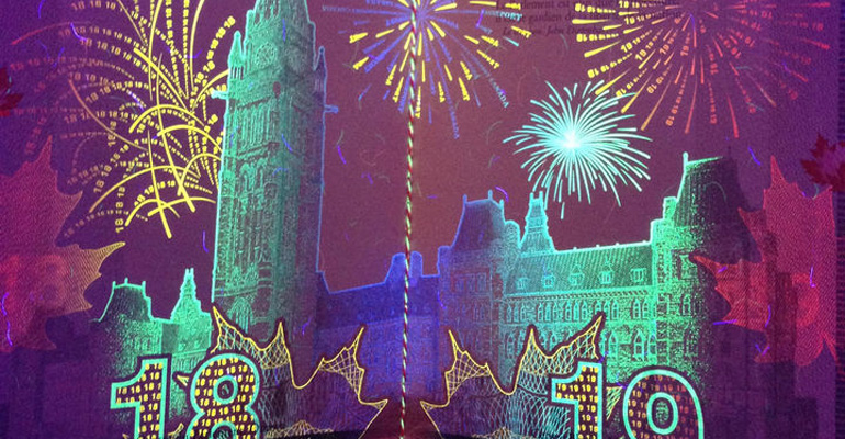 Black Light Reveals Secret Artworks in Canadian Passport.