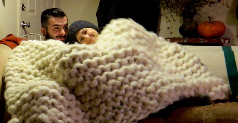 Check out This Giant DIY Fluffy Blanket That You'll Love to Snuggle Under