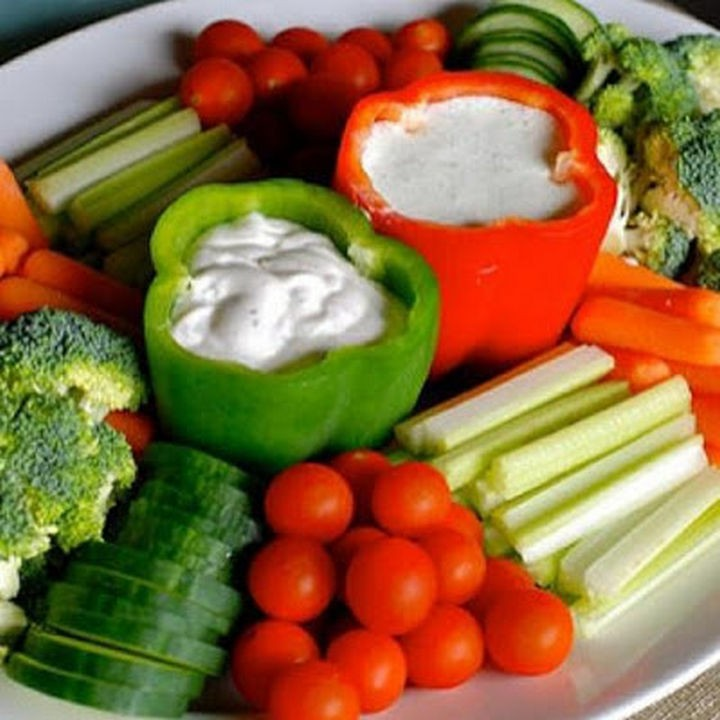 16 Party Hacks - Use hollowed out vegetables like red and green peppers to hold dips.