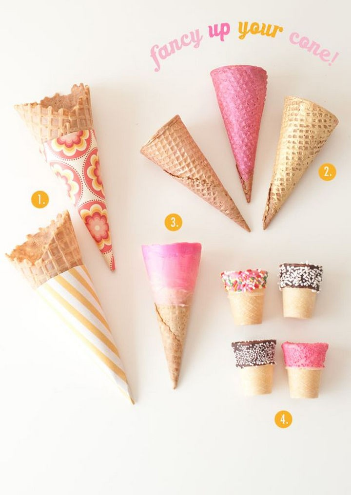 16 Party Hacks - Add a fun variety of flavors to plain ice cream cone.