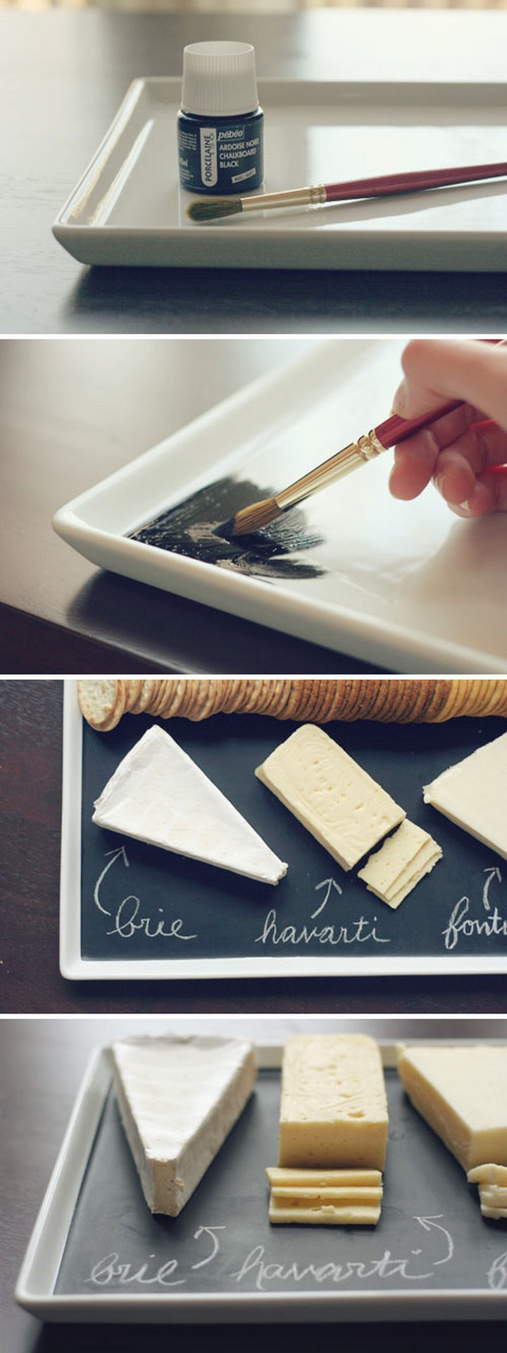 16 Party Hacks - Make a DIY chalkboard serving platter for cheese or other snacks.