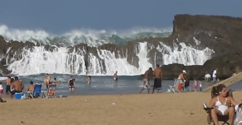 Playa Puerto Nuevo - this Beach Makes a Very Big Splash with Beachgoers.
