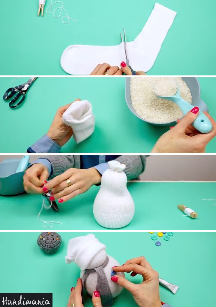 How to Make a DIY Sock Snowman Decoration for Winter.