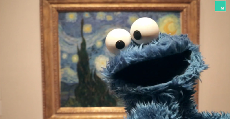 Cookie Monster Ponders Deep Thoughts about Food.