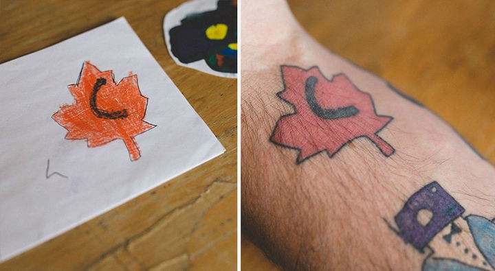 Kai created a Canadian maple leaf when he was 7.