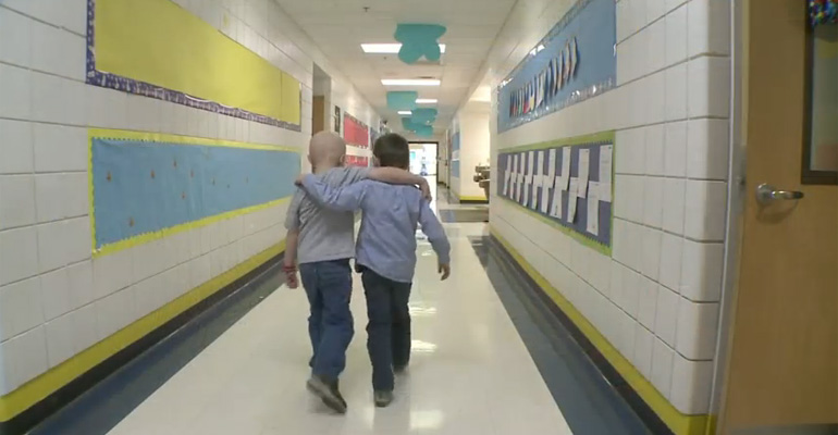 First Grader Does Something Special for His Friend with Cancer.
