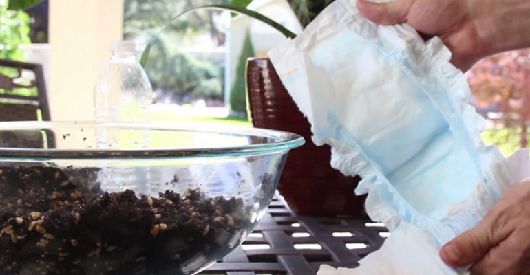 Keep your Plants Happy and Avoid Overwatering with Diapers.