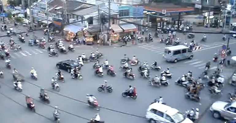 Traffic in Vietnam Gives a Whole New Meaning to Rush Hour.