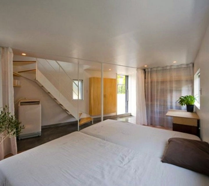 Small House Design in Japan - Curtains are used to provide privacy in the bedrooms.