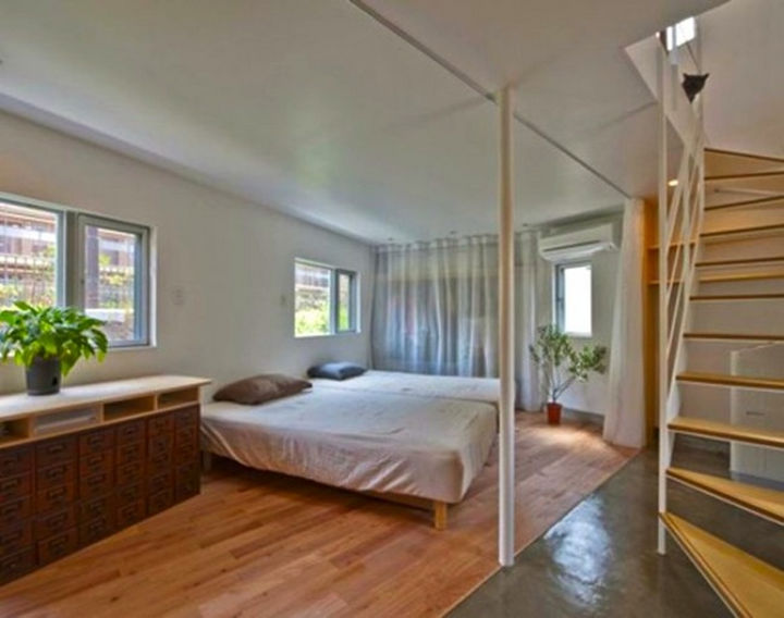 Small House Design in Japan - The bedrooms are an open area but separated from the living area.