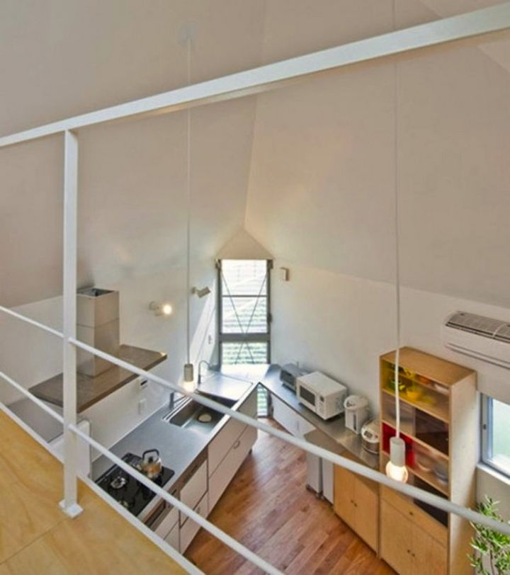 Small House Design in Japan - The loft also offers a great view of the kitchen and dining area.
