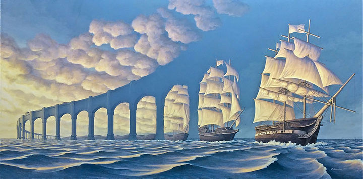 Rob Gonsalves Paintings - The Sun Sets Sail.