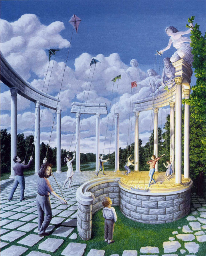 Rob Gonsalves Paintings - Pulling Strings.