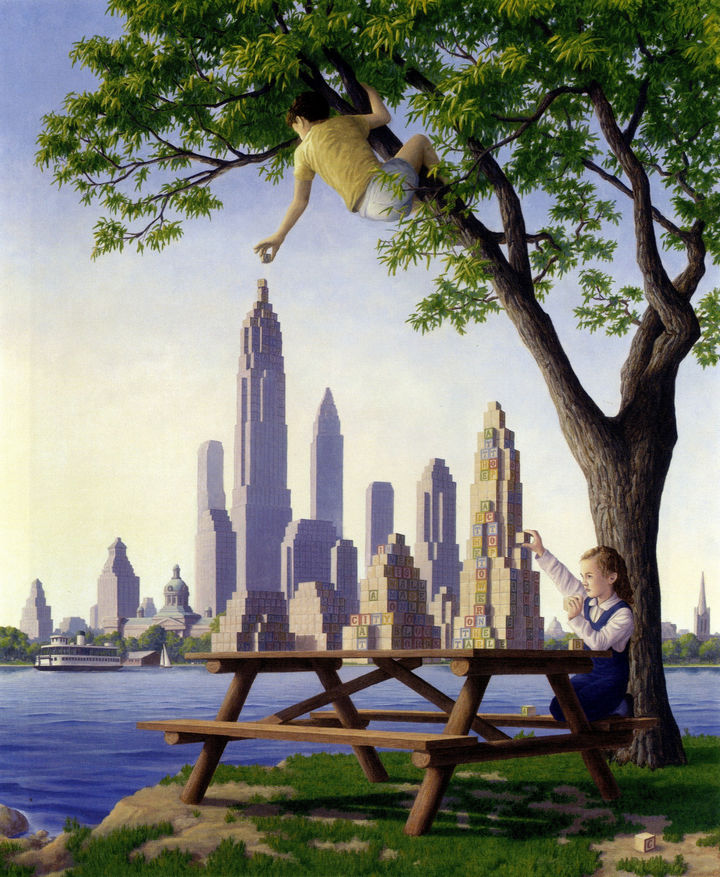 Rob Gonsalves Paintings - Table Top Towers.