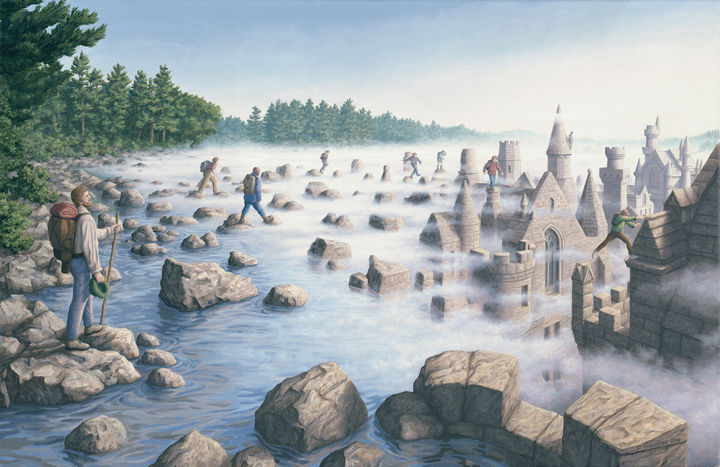 Rob Gonsalves Paintings - Stepping Stones.