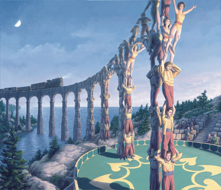 Rob Gonsalves Paintings - Acrobatic Engineering.