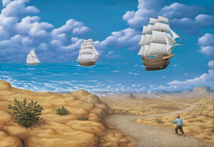 Rob Gonsalves Paintings - In Search Of Sea.