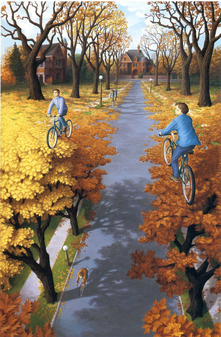 Rob Gonsalves Paintings - Autumn Cycling.