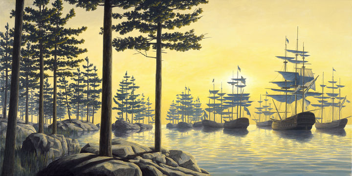 Rob Gonsalves Paintings - Sailing Island.