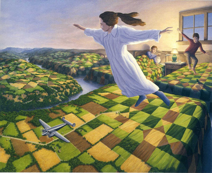 Rob Gonsalves Paintings - Bedtime Aviation.