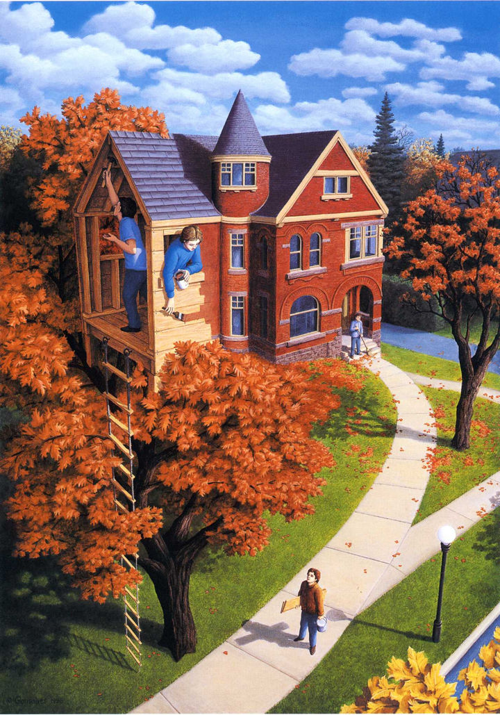 Rob Gonsalves Paintings - Tree House In Autumn.