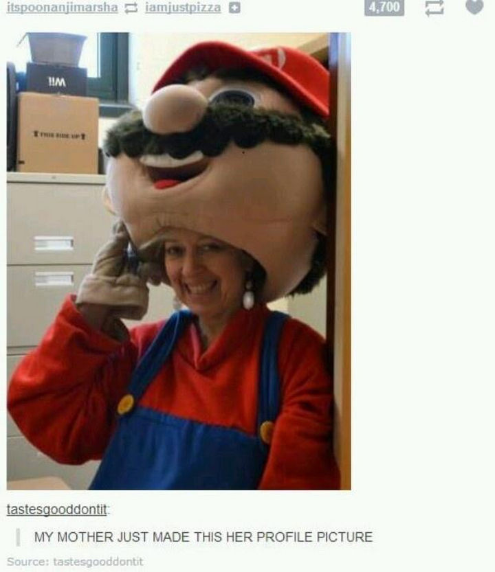 33 Trolling Parents - My mother just made her in a Super Mario costume her profile picture.