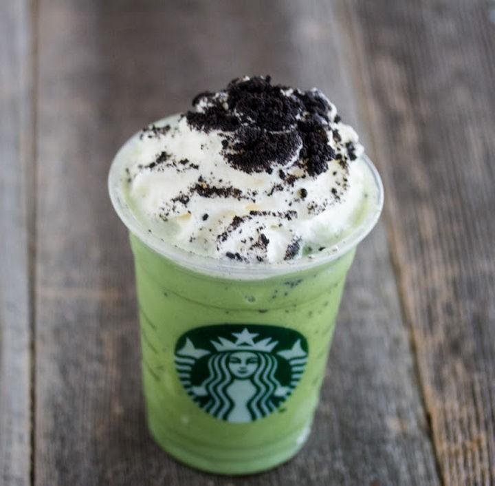 39 Starbucks Secret Menu Drinks - Mint Chocolate Chip Frappuccino recipe.
