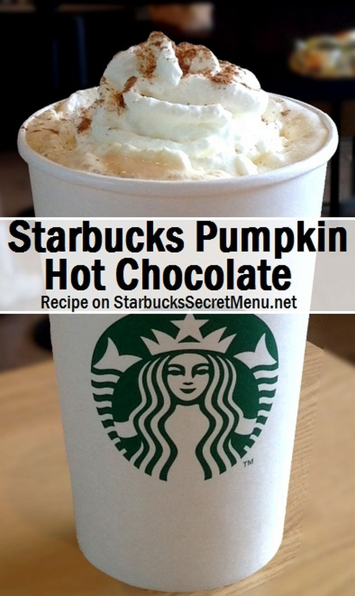 39 Starbucks Secret Menu Drinks - Pumpkin Hot Chocolate recipe.