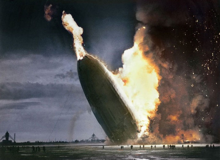 58 Colorized Photos from the Past - The Hindenburg Disaster, 1937.