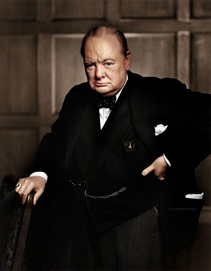 58 Colorized Photos from the Past - Winston Churchill, 1941.
