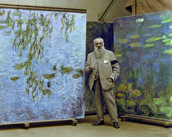 58 Colorized Photos from the Past - Claude Monet, 1923.