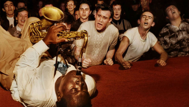 58 Colorized Photos from the Past - Big Jay McNeely at the Olympic Auditorium in Los Angeles, 1953.